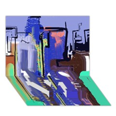 Abstract City Design LOVE Bottom 3D Greeting Card (7x5)