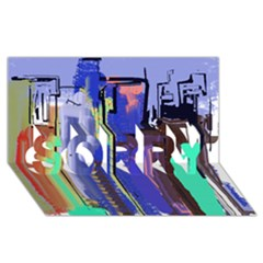 Abstract City Design Sorry 3d Greeting Card (8x4)