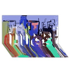 Abstract City Design HUGS 3D Greeting Card (8x4)