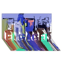 Abstract City Design Engaged 3d Greeting Card (8x4)