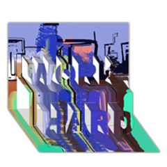 Abstract City Design WORK HARD 3D Greeting Card (7x5)