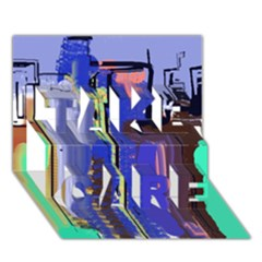 Abstract City Design TAKE CARE 3D Greeting Card (7x5)