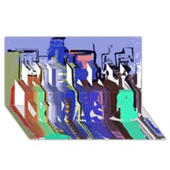 Abstract City Design Merry Xmas 3d Greeting Card (8x4)