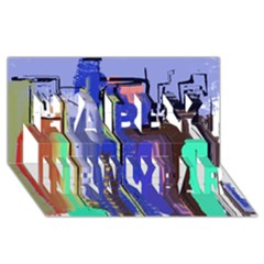Abstract City Design Happy New Year 3d Greeting Card (8x4)