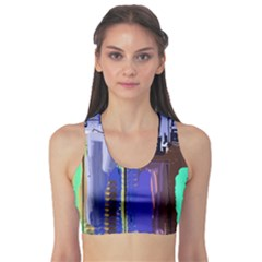 Abstract City Design Sports Bra