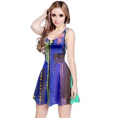 Abstract City Design Reversible Sleeveless Dresses