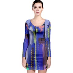 Abstract City Design Long Sleeve Bodycon Dresses