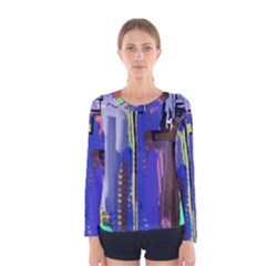Abstract City Design Women s Long Sleeve T-shirts