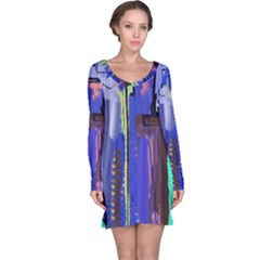 Abstract City Design Long Sleeve Nightdresses