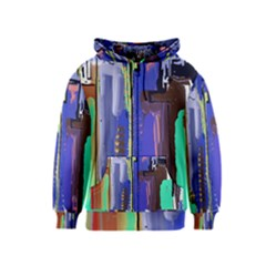 Abstract City Design Kids Zipper Hoodies