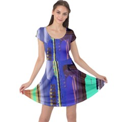 Abstract City Design Cap Sleeve Dresses