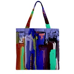 Abstract City Design Zipper Grocery Tote Bags