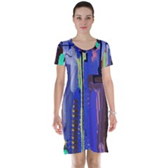 Abstract City Design Short Sleeve Nightdresses