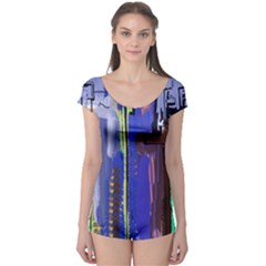 Abstract City Design Short Sleeve Leotard