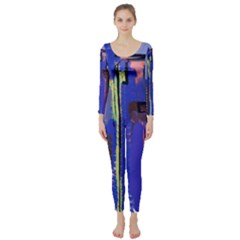 Abstract City Design Long Sleeve Catsuit