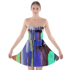 Abstract City Design Strapless Bra Top Dress