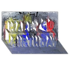 Hazy City Abstract Design Happy Birthday 3D Greeting Card (8x4)