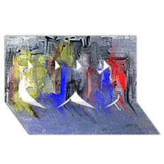 Hazy City Abstract Design Twin Hearts 3D Greeting Card (8x4)