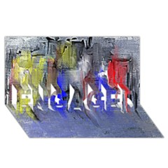 Hazy City Abstract Design ENGAGED 3D Greeting Card (8x4)