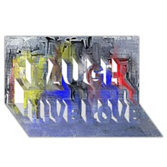 Hazy City Abstract Design Laugh Live Love 3D Greeting Card (8x4)