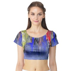 Hazy City Abstract Design Short Sleeve Crop Top