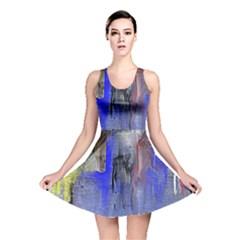 Hazy City Abstract Design Reversible Skater Dresses