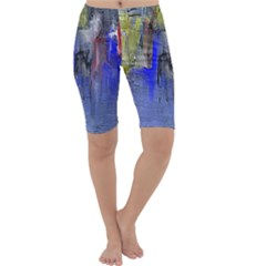 Hazy City Abstract Design Cropped Leggings
