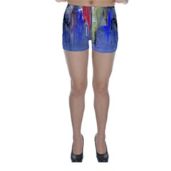 Hazy City Abstract Design Skinny Shorts