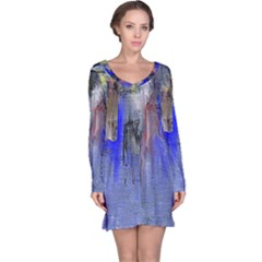 Hazy City Abstract Design Long Sleeve Nightdresses