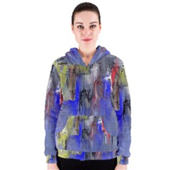 Hazy City Abstract Design Women s Zipper Hoodies