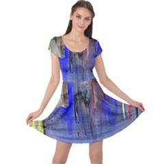 Hazy City Abstract Design Cap Sleeve Dresses