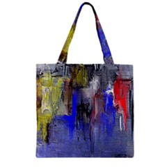 Hazy City Abstract Design Zipper Grocery Tote Bags