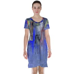 Hazy City Abstract Design Short Sleeve Nightdresses