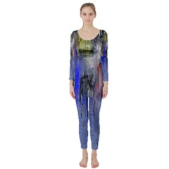 Hazy City Abstract Design Long Sleeve Catsuit