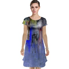 Hazy City Abstract Design Cap Sleeve Nightdresses