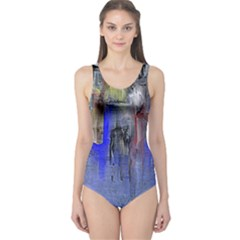Hazy City Abstract Design Women s One Piece Swimsuits
