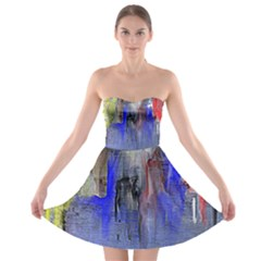Hazy City Abstract Design Strapless Bra Top Dress