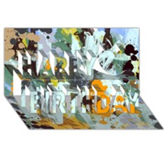 Abstract Country Garden Happy Birthday 3d Greeting Card (8x4)