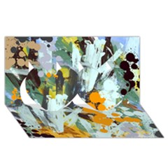 Abstract Country Garden Twin Hearts 3D Greeting Card (8x4)
