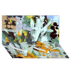 Abstract Country Garden Twin Heart Bottom 3d Greeting Card (8x4)