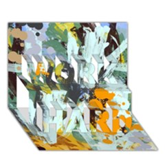 Abstract Country Garden WORK HARD 3D Greeting Card (7x5)