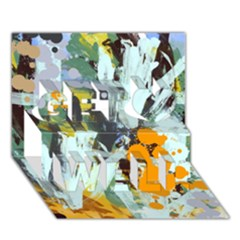Abstract Country Garden Get Well 3D Greeting Card (7x5)