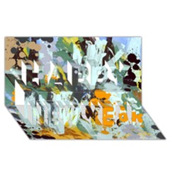 Abstract Country Garden Happy New Year 3D Greeting Card (8x4)
