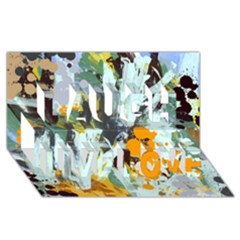 Abstract Country Garden Laugh Live Love 3D Greeting Card (8x4)