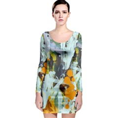 Abstract Country Garden Long Sleeve Bodycon Dresses