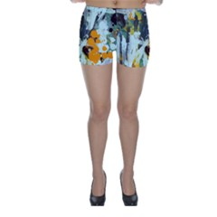 Abstract Country Garden Skinny Shorts