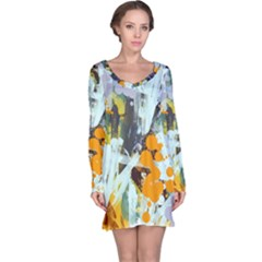 Abstract Country Garden Long Sleeve Nightdresses