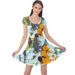 Abstract Country Garden Cap Sleeve Dresses