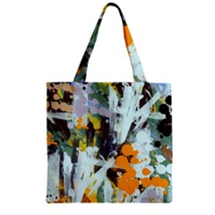 Abstract Country Garden Zipper Grocery Tote Bags