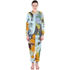 Abstract Country Garden Hooded Jumpsuit (ladies)